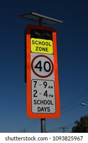 Redcliffe, Queensland, Australia - May 14 2018: Queensland School Zone speed limit and warning lights used on school days.