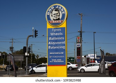Redcliffe, Queensland, Australia - May 14 2018: Bob Jane T-Marts tower sign.