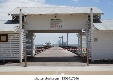 Redcliffe, Queensland / Australia - November 25 2018:  Woody Point Jetty in Redcliffe