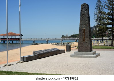 Redcliffe, Queensland, Australia October 2016 - editorial use only: War memorial for Australian Defence Forces on Redcliffe waterfront promenade.