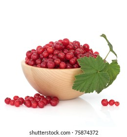 Redcurrant fruit in a beech wood bowl with leaf sprig and scattered, isolated over white background.