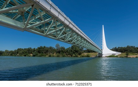 REDDING, CALIFORNIA - JULY 28: Sundial Bridge at Turtle Bay on the Sacramento River Trail on July 28, 2017 in Redding California