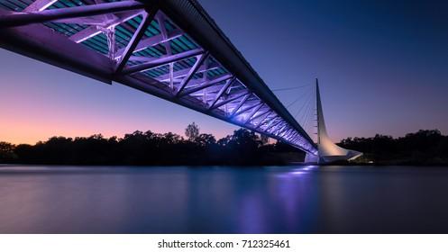 REDDING, CALIFORNIA - JULY 28: Sundial Bridge at Turtle Bay at night on the Sacramento River Trail on July 28, 2017 in Redding California