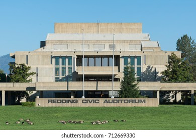REDDING, CALIFORNIA - JULY 29: Exterior of the Redding Civic Auditorium on July 29, 2017 in Redding California