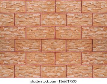 Reddish brown ceramic tiles unglazed non-slip textured for walls, floors, fences, exterior and interior installation.