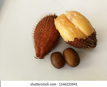 Reddish brown scaly skin snake fruit or salak fruit, sloughed off skin fruit showing yellow creamy flesh and hard brown seeds