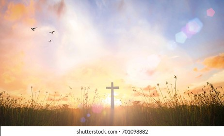 Redemption concept: The cross on Golgotha mountain autumn sunrise background