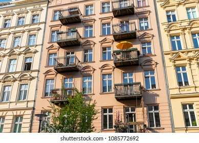 Redeveloped old residential construction seen at the Prenzlauer Berg district in Berlin, Germany