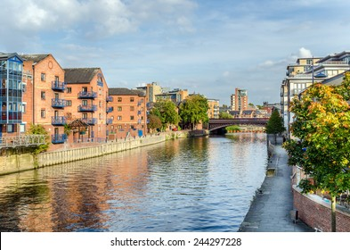Redeveloped Warehouses along the River in Leeds, UK