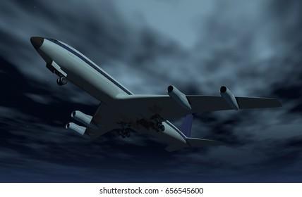 Red-eye flight Computer generated 3D illustration
