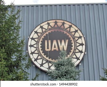 Redford, Mich./USA-9/2/19: The UAW emblem on the main building of the Detroit Diesel engine manufacturing plant on Telegraph Rd.