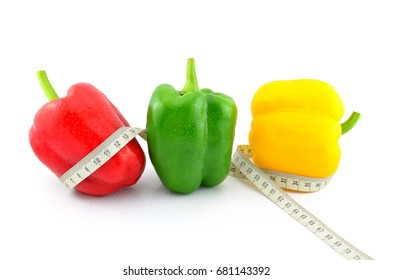 Red,green and yellow bell pepper isolated on white background,Vegetables have health benefits
