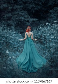 Red-haired girl in a blue, sapphire, luxurious dress in the floor, with an open back and a long train. The princess walks in a fairy forest. Photo from the back without a face. Artistic retouching