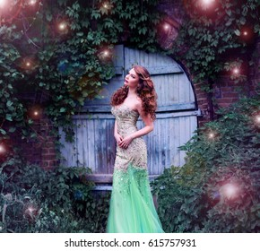 Red-haired girl  fairy, fairy lights and magic door