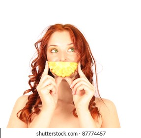Red-haired girl with funny pineapple smile isolated on white background