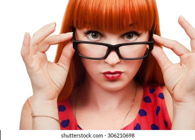 Red-haired girl in glasses on white background