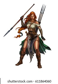 Red-haired girl warrior with a spear