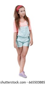 Red-haired teen girl in shorts. isolated on white background
