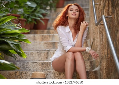 Redhaired woman tourist in Croatia