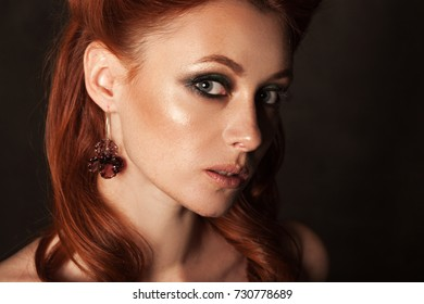 redhead beautiful woman posing, shooting beauty face and accessories