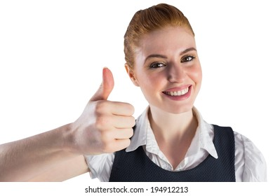 Redhead businesswoman showing thumbs up on white background