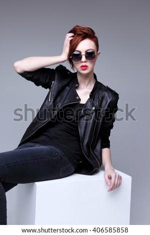 Redhead Fashion Model Sunglasses Black Leather Stock Photo Edit Now