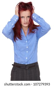 Redhead female tear her hair out, stressed and despair, isolated on white