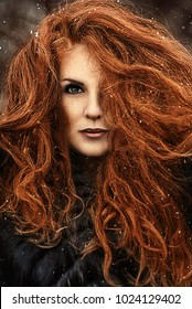 Redhead girl with long hair, a face covered with snow with frost. Snow Queen and winter. Winter makeup woman face, red head