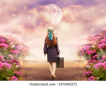 Redhead lady woman in polkadot dress, hat, retro style suitcase walking summer rose field path to mystical glow. Tranquil fantasy fairy tale scene, big giant moon Travel across hills to dream concept.