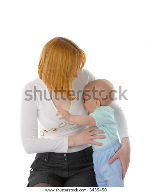 the redhead woman with baby on white background