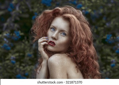 Stock photo bright picture of healthy naked redhead over white