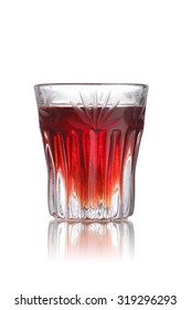 Red-headed slut alcoholic cocktail in faceted shot glass (shooter)