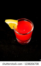 Redheaded Slut cocktail with jagermeister, cranberry juice and peach schnapps