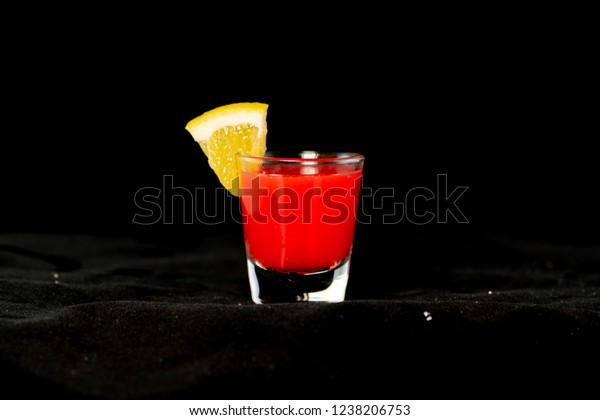 Redheaded Slut Cocktail Jagermeister Cranberry Juice Stock Photo