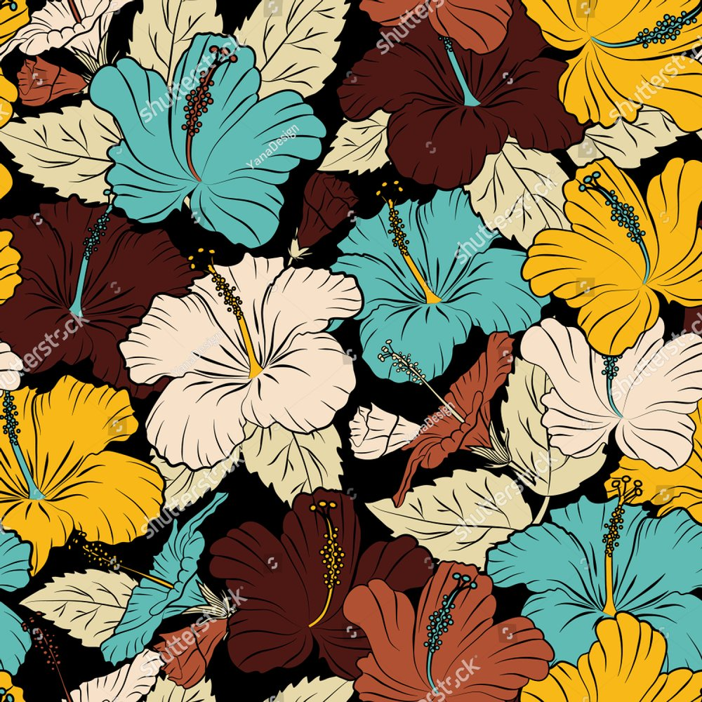 Bright Painting Inspired Hibiscus Flower Print Seamless Background