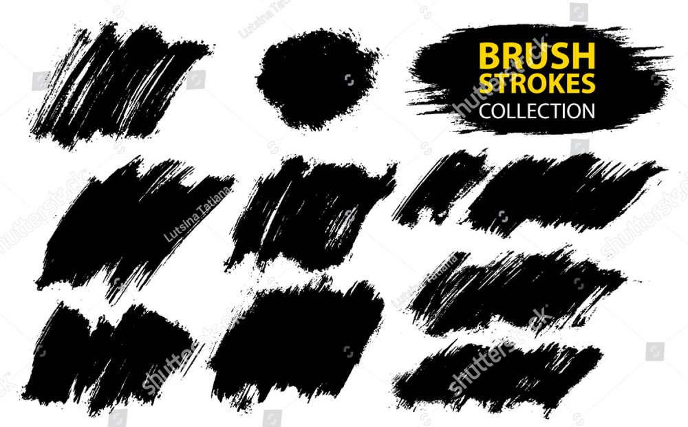 Large set different grunge brush strokes. Dirty artistic design elements  isolated on white background. Black ink vector brush strokes.