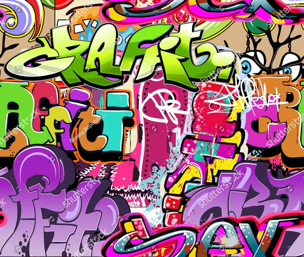 Graffiti wall. Urban art background. Seamless hip hop texture | EZ ...