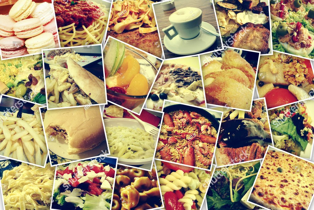 mosaic with pictures of different meals and dishes, shot by myself, simulating a wall of snapshots uploaded to social networking services