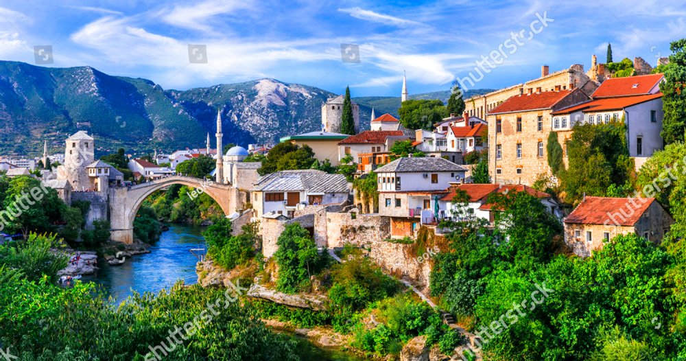 Amazing iconic old town Mostar with famous bridge in Bosnia and Herzegovina, popular tourist destination