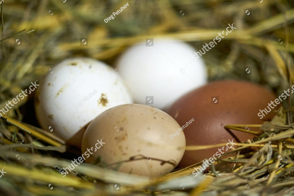 easter basket with easter eggs on wooden background