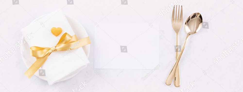 Valentine's Day meal design concept - Romantic plate dish set isolated on marble white background for restaurant holiday celebration promo, top view, flat lay.