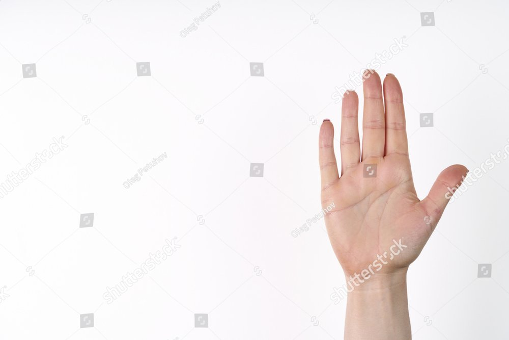 Female hand extended in greeting isolated on white. Number five.
