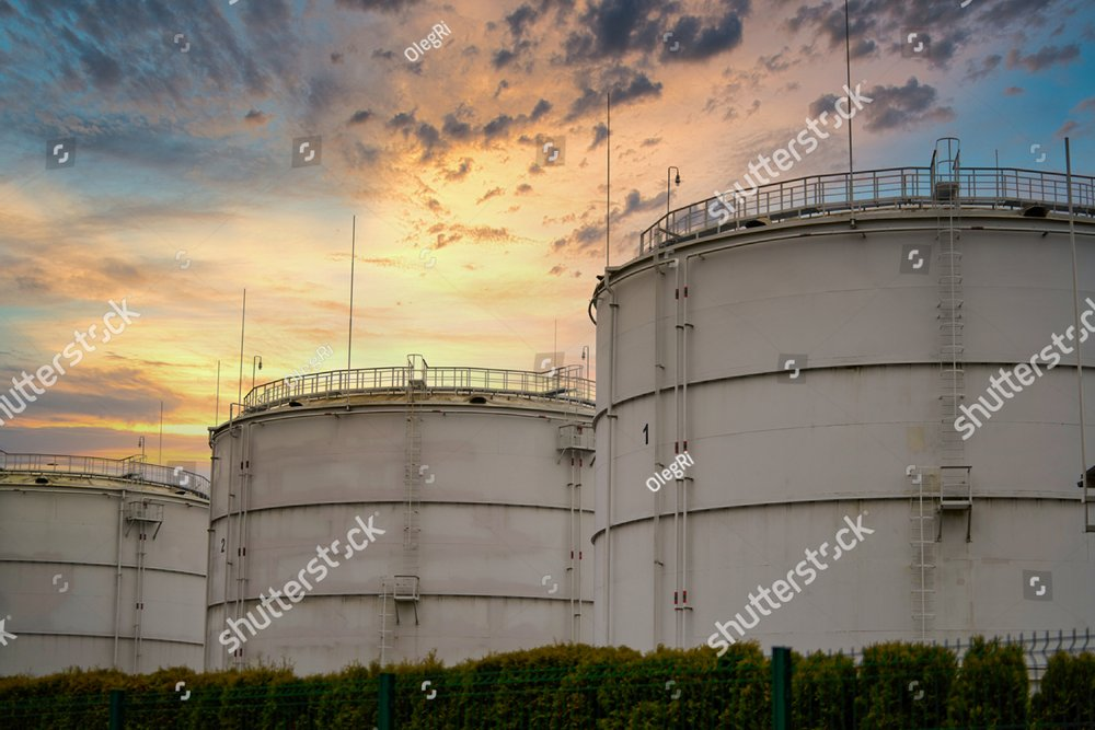 Big industrial oil tanks in a refinery base. industrial plant