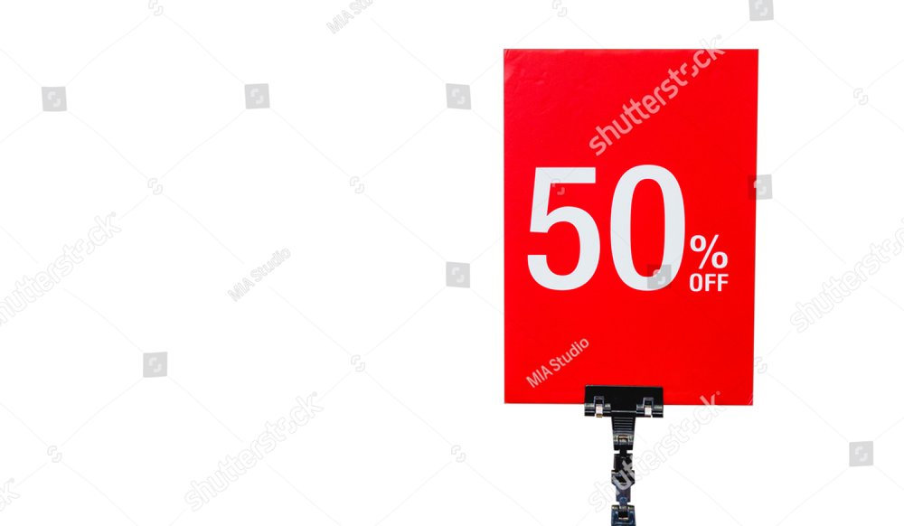 Holiday Sale Banner sign in department store, 50% OFF Special Offer Ad. Discount Promotion Banner.Season Sale Promo Sticker isolated on white background.50 percent Mega Discount sale.