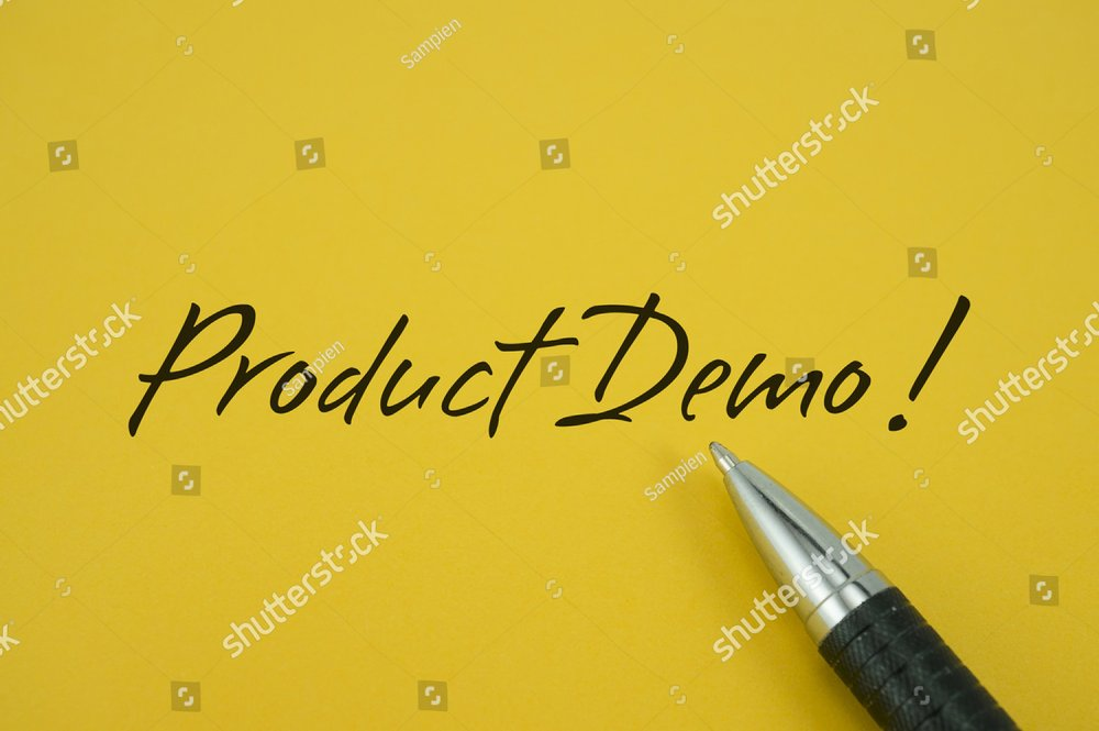 Product Demo! note with pen on yellow background
