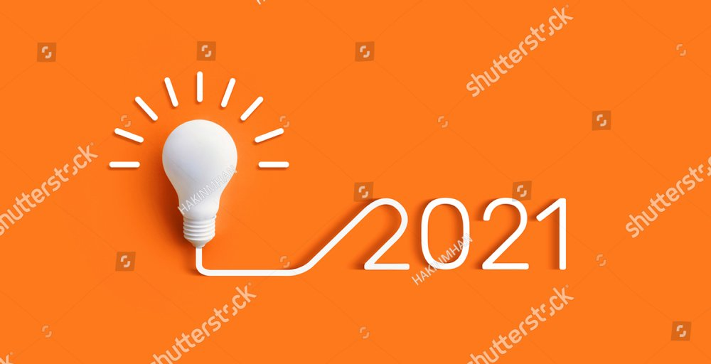 2021 Creativity and inspiration ideas concepts with lightbulb on pastel color background.Business solution