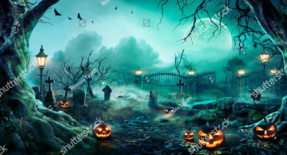 Pumpkins In Graveyard In The Spooky Night - Halloween Backdrop