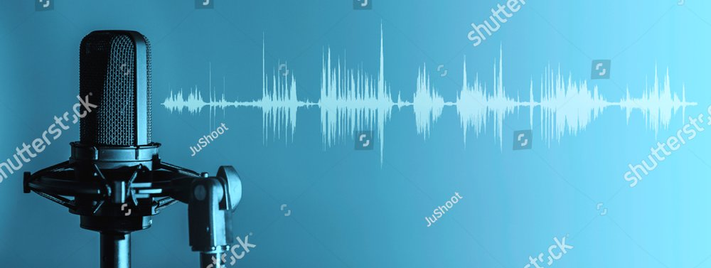 Professional microphone with waveform on blue background banner, Podcast or recording studio background