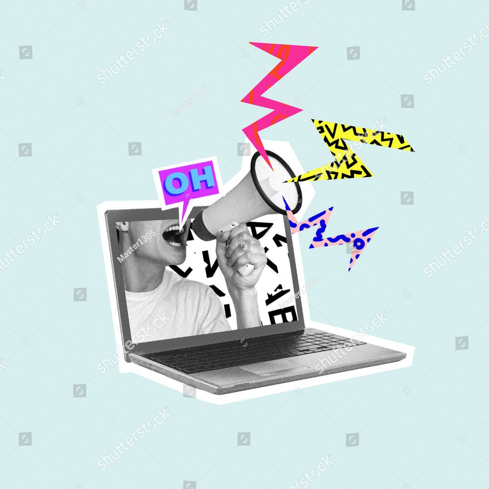 Shouting out your own thoughts online. Man with megaphone in laptop. Modern design, contemporary art collage. Inspiration, idea, trendy urban magazine style. Negative space to insert your text or ad.