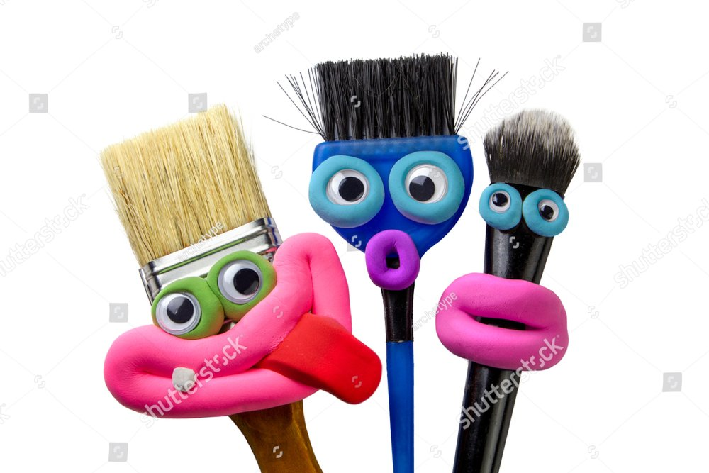 Set of Animated brushes with eyes and lips isolated on the white background. Emotions things